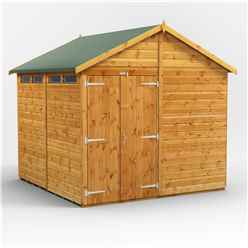 8 x 8 Security Tongue and Groove Apex Shed - Double Doors - 4 Windows - 12mm Tongue and Groove Floor and Roof