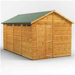 14 x 8 Security Tongue and Groove Apex Shed - Single Door - 6 Windows - 12mm Tongue and Groove Floor and Roof