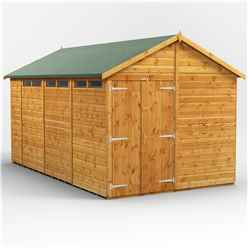 14 x 8 Security Tongue and Groove Apex Shed - Double Doors - 6 Windows - 12mm Tongue and Groove Floor and Roof