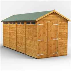 16 x 6 Security Tongue and Groove Apex Shed - Double Doors - 8 Windows - 12mm Tongue and Groove Floor and Roof