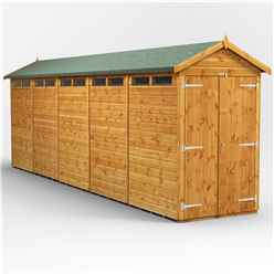 20 x 4 Security Tongue and Groove Apex Shed - Double Doors - 10 Windows - 12mm Tongue and Groove Floor and Roof