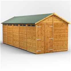 20 x 8 Security Tongue and Groove Apex Shed - Double Doors - 10 Windows - 12mm Tongue and Groove Floor and Roof