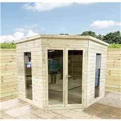 7 x 7 Corner Pressure Treated T&G Pent Summerhouse + Safety Toughened Glass + Euro Lock with Key + SUPER STRENGTH FRAMING