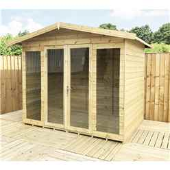 8 X 11 Pressure Treated Tongue And Groove Apex Summerhouse - LONG WINDOWS - With Higher Eaves And Ridge Height + Overhang + Toughened Safety Glass + Euro Lock With Key + SUPER STRENGTH FRAMING