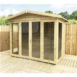 8 X 6 Pressure Treated T&G Apex Summerhouse - LONG WINDOWS - EXTRA SIDE WINDOWS - With Higher Eaves And Ridge Height + Overhang + Toughened Safety Glass + Euro Lock With Key + SUPER STRENGTH FRAMING