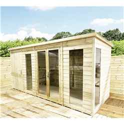 16 x 9 Combi Pressure Treated Tongue & Groove Pent Summerhouse With Higher Eaves And Ridge Height + Side Shed + Toughened Safety Glass + Euro Lock With Key + SUPER STRENGTH FRAMING