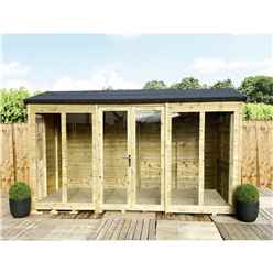 12 X 11 Reverse Pressure Treated Tongue And Groove Apex Summerhouse + LONG WINDOWS With Higher Eaves And Ridge Height + Overhang + Toughened Safety Glass + Euro Lock With Key + SUPER STRENGTH