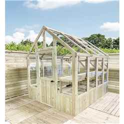 14 x 6 Pressure Treated Tongue And Groove Greenhouse - Super Strength Framing - RIM Lock - 4mm Toughened Glass + Bench + FREE INSTALL