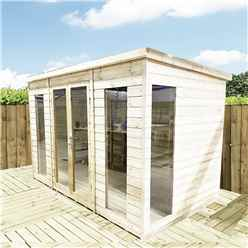 13 x 9 PENT Pressure Treated Tongue & Groove Pent Summerhouse With Higher Eaves And Ridge Height  + Toughened Safety Glass + Euro Lock With Key + SUPER STRENGTH FRAMING