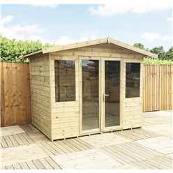 9 x 9 Pressure Treated Tongue And Groove Apex Summerhouse + Overhang + Safety Toughened Glass + Euro Lock with Key + SUPER STRENGTH FRAMING