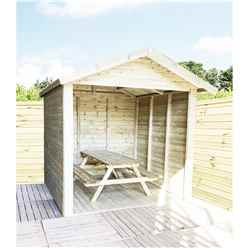 8 x 7 Premium Outside Dining Shelter / Smoking Shelter - Pressure Treated Tongue And Groove Apex - Includes 6ft Picnic Bench