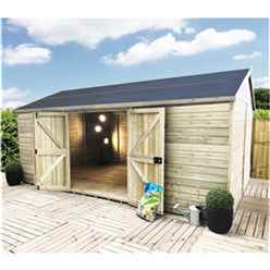 18 x 8 WINDOWLESS Reverse Premier Pressure Treated Tongue And Groove Apex Shed With Higher Eaves And Ridge Height Double Doors (12mm Tongue & Groove Walls, Floor & Roof) + SUPER STRENGTH FRAMING