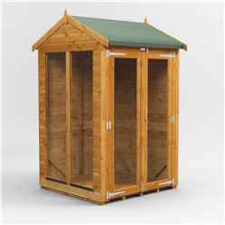 4 X 4 Premium Tongue And Groove Apex Summerhouse - Double Doors - 12mm Tongue And Groove Floor And Roof