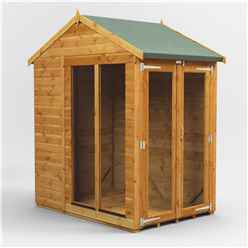 4 X 6 Premium Tongue And Groove Apex Summerhouse - Double Doors - 12mm Tongue And Groove Floor And Roof