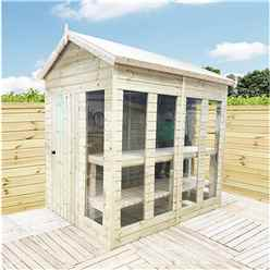 10 x 7 Pressure Treated Tongue And Groove Apex Summerhouse - Potting Summerhouse - Bench + Safety Toughened Glass + RIM Lock with Key + SUPER STRENGTH FRAMING