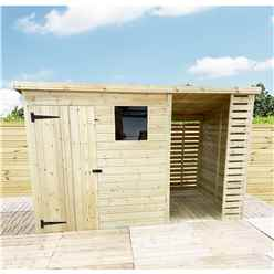 14 X 8 Pressure Treated Tongue And Groove Pent Shed With Storage Area + 1 Window