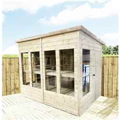 8 x 8 Pressure Treated Tongue And Groove Pent Summerhouse - Potting Summerhouse - Bench + Safety Toughened Glass + RIM Lock with Key + SUPER STRENGTH FRAMING