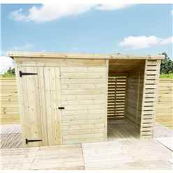 14 X 7 Pressure Treated Tongue And Groove Pent Shed With Storage Area Windowless