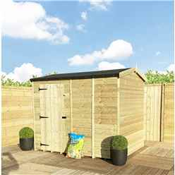 8 x 8 **Flash Reduction** Reverse Super Saver Pressure Treated Tongue And Groove Apex Shed + Single Door + High Eaves 72 Windowless