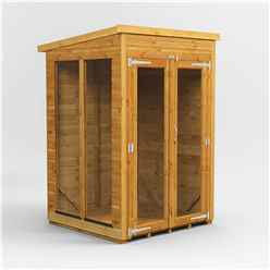 4 X 4 Premium Tongue And Groove Pent Summerhouse - Double Doors - 12mm Tongue And Groove Floor And Roof