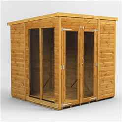 6 X 6 Premium Tongue And Groove Pent Summerhouse - Double Doors - 12mm Tongue And Groove Floor And Roof