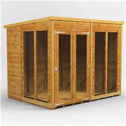 8 X 6 Premium Tongue And Groove Pent Summerhouse - Double Doors - 12mm Tongue And Groove Floor And Roof