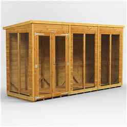 12 X 4 Premium Tongue And Groove Pent Summerhouse - Double Doors - 12mm Tongue And Groove Floor And Roof