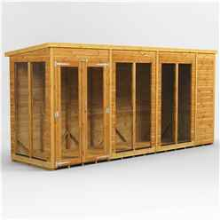 14 X 4 Premium Tongue And Groove Pent Summerhouse - Double Doors - 12mm Tongue And Groove Floor And Roof