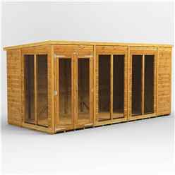14 X 6 Premium Tongue And Groove Pent Summerhouse - Double Doors - 12mm Tongue And Groove Floor And Roof