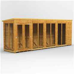 18 X 4 Premium Tongue And Groove Pent Summerhouse - Double Doors - 12mm Tongue And Groove Floor And Roof