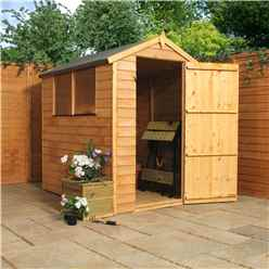 6 x 4 Overlap Apex Shed With Single Door + 2 Windows (10mm Solid OSB Floor)