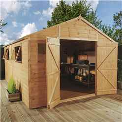 16 x 10 Deluxe Tongue and Groove Workshop With Double Doors + 4 Windows (12mm Tongue and Groove Floor and Roof)