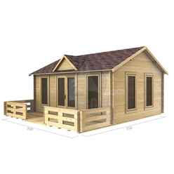 5m X 4m (16 X 13) Apex Reverse Log Cabin (2140) - Double Glazing + Double Doors - 34mm Wall Thickness