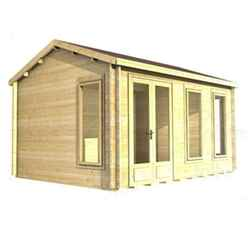 3.5m X 3.5m (12 X 12) Apex Reverse Log Cabin (2039) - Double Glazing + Double Door - 34mm Wall Thickness