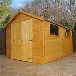 12 x 8 Deluxe Tongue and Groove Workshop With Double Doors + 2 Windows (12mm Tongue and Groove Floor and Roof)