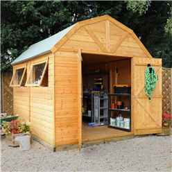 10 x 8 Deluxe Tongue and Groove Dutch Barn With Double Doors + 2 Windows (12mm Tongue and Groove Floor and Roof)