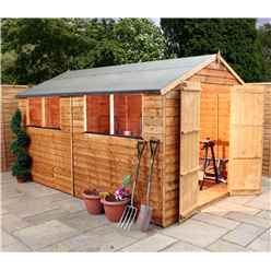10 x 8 Overlap Apex Shed With Double Doors + 4 Windows (10mm Solid OSB Floor)