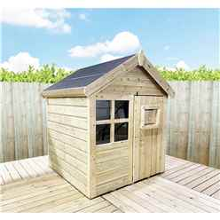 4 x 4  Wooden Playhouse with Apex Roof, Single Door and Windows