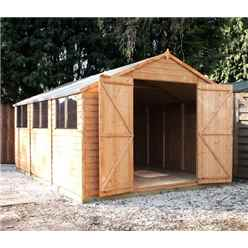 15 x 10 Overlap Apex Workshop With Double Doors + 4 Windows (10mm Solid OSB Floor)