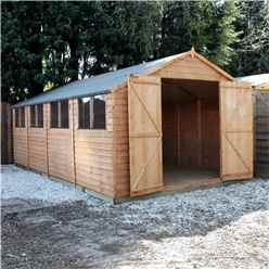 20 x 10 Overlap Apex Workshop With Double Doors + 8 Windows (10mm Solid OSB Floor)
