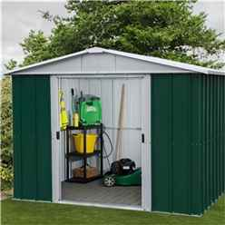"9ft 4"" x 7ft 5"" Apex Metal Shed With Free Anchor Kit (2.85m x 2.26m)"