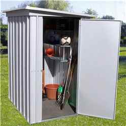 3 5 X 4 9 Pent Metal Shed + Free Anchor Kit (1.04m X 1.44m)