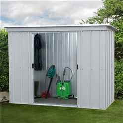 "7' 5"" x 3' 4"" Pent Metal Shed + Free Anchor Kit (2.24m x 1.04m)"