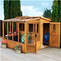 8 x 8 Premier Tongue and Groove Combi Pent Shed With 2 Single Doors + Greenhouse