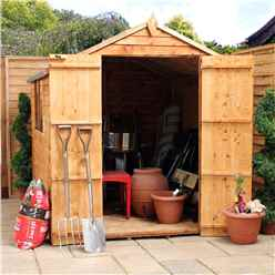 8 x 6 Buckingham Overlap Apex Shed With Double Doors + 2 Windows (Solid 10mm OSB Floor)