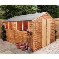 10 x 8 Cambridge Overlap Apex Shed With Double Doors + 4 Windows (10mm Solid OSB Floor)