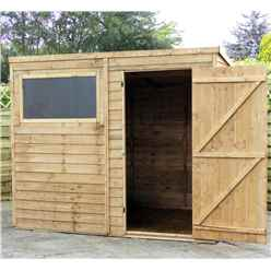 8 x 6 Cambridge Overlap Pent Shed With Single Door + 1 Window (Solid 10mm OSB Floor)