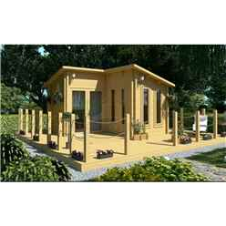 4m x 4m (13 x 13) Pent Style Log Cabin (2054) - Double Glazing + Single Door - 34mm Wall Thickness
