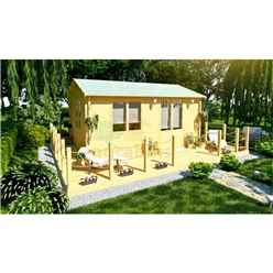 6m x 4m (20 x 13) Apex Reverse Log Cabin (2119) - Double Glazing + Double Doors - 34mm Wall Thickness