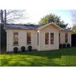 8.5m x 4.5m (28 x 15) Apex Reverse Log Cabin (2127) - Double Glazing - 44mm Wall Thickness